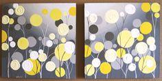 Pared arte textura amarilla y gris abstracto por MurrayDesignShop