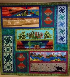 Finished Row by Row Quilt Southwestern road trip. - Finished Row by Row Quilt Southwestern road trip. Panel Quilts, Quilt Blocks, Scrappy Quilts, Baby Quilts, Row By Row 2016, Southwestern Quilts, Row By Row Experience, Baby Quilt Patterns, Quilt Border