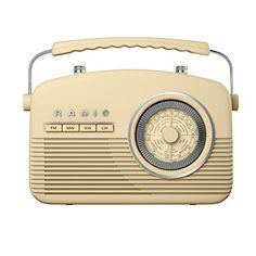 Akai A60010C Portable 4 Band Retro Radio, 14 W - Cream