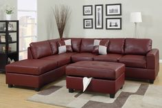 Sacramento Red Burgundy Leather Sectional Sofa with Left Facing Chaise by Urban…
