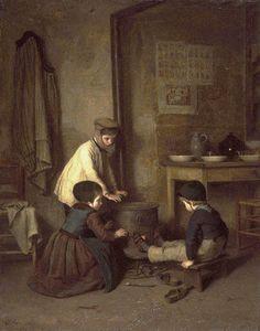 O Dia Frio. 1858. Óleo no painel. Édouard Frère Pierre (Paris, França, 10/01/1819 - 20/05/1886, Écouen, França). Encontra-se no Museu de Artes Walters, Baltimore, Maryland, USA.
