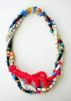 Boho statement textile neklace colorful jewelry Chunky by JIAKUMA
