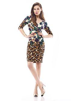 Inter Zeila 9355   GN Design GroupINTER ZEILA 9355  Vestido corto en punto de seda print floral mix animal