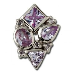 Exxotic wedding collection 925 sterling silver purple color american diamond pendant - Online Shopping for Pendants by Exxotic jewelz
