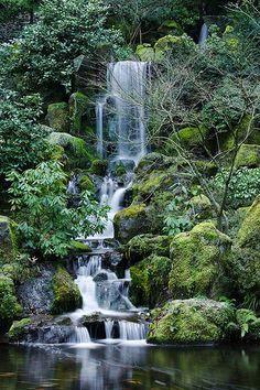 waterfall at portland's japanese garden