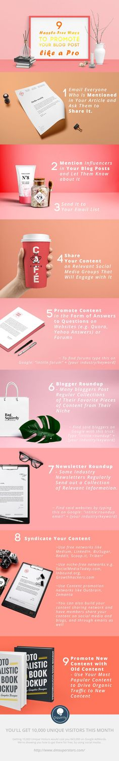 9 Hassle-Free Ways to Promote Your Blog Post Like a Pro [Infographic] According to some bloggers, it's better to spend 80% of your time promoting content, and only put 20% of it intro creating it. That's definitely one school of thought we can get behind, as there's no point to creating excellent content if nobody is going to see it. https://www.squirrly.co/free-ways-to-promote-your-blog-post-like-a-pro