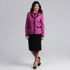 @Overstock - Step out in style wearing this space-dyed womens skirt suit by Danillo. This purple-and-black suit has a knee-length skirt that is fully lined and has a banded waist for comfort. The jacket has a three-button closure and a chic notched collar.http://www.overstock.com/Clothing-Shoes/Danillo-Womens-Space-Dyed-Framed-Skirt-Suit/6643941/product.html?CID=214117 $32.24
