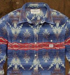 Denim Supply Ralph Lauren Men Southwestern Indian Aztec Work Jacket Shirts Large