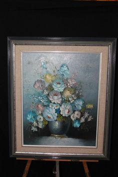 Stemple Oil On Canvas Flower Vase Still Life Painting Impasto Signed Floral