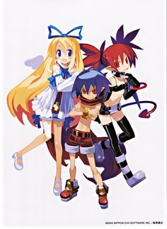 Disgaea - Based off an RPG. The Netherworld is a world filled with spiteful and mean demons of all sorts, and they are governed by the most powerful of them all, the Overlord. When Prince Laharl, the heir to the throne is woken up from his nap, he learns that his father died, two years ago! Finding out that his nap lasted longer than expected, he now has to stake his claim and beat down any competition. A very comical and entertaining series.