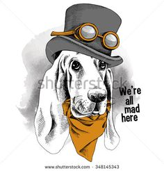 Portrait funny dog Basset Hound wearing steampunk top hat with glasses and cravat. Vector illustration.