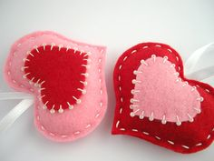 Red and pink felt hearts - valentines day home decoration, gift tags, ornaments - puffy hearts. $14.00, via Etsy.