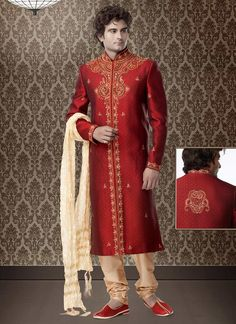 Embroidered Maroon Brocade Sherwani