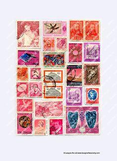 Vintage Pink red postage stamps collage sheet by LasagnaTheCat