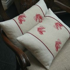 Emily Bond Horses fabric and linen cushions.