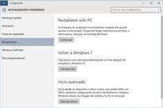 Volver a Windows 7, 8 u 8.1 desde Windows 10