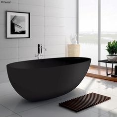 Fienza Bahama Matte Black Stone Freestanding Bath - The Blue Space