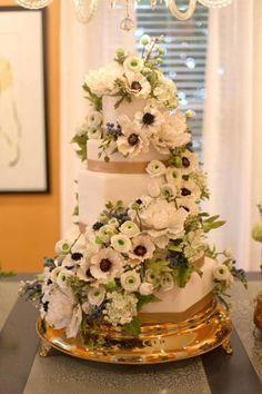 Cake by The Mischief Maker | Spiraling Sugar Flower Wedding Cake #mischiefmakercakes