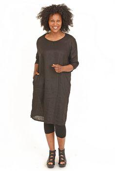 Linen Lorna Dress, Black