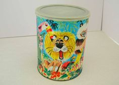 Vintage Folgers Coffee Can Tin Container With Cartoon Illustations Jungle Zoo Animals 1960s Retro Coffee Can Collectibles Free Shipping by DesignsFindsKC on Etsy