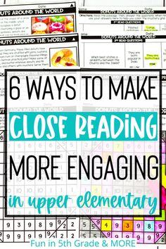 Close reading can be overwhelming as a teacher! Here are some easy ways to make close reading more engaging for your students! Check out this blog post to learn how to use close reading strategies in the classroom and make it FUN! Teaching close reading in upper elementary will be easier with these great tips. Find some great reading passages that will keep your students engaged and interested! Close Reading Strategies, Reading Resources, Reading Activities, Reading Skills, Student Reading, Kindergarten Reading, Teaching Reading, Teacher Page, Comprehension Activities