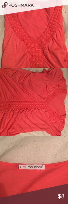 Maurice's size 3 coral shirt. EUC. Re-poshing because it's slightly to low cut for my line of work. Size 3. It truly is a beauty! Maurices Tops