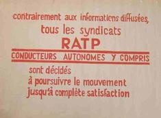 Affiche mai 68 - Contrairement aux informations diffusées tous les syndicats RATP sont décidés