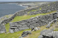 Inis Meain,  stone walls. The middle of the three Aran Islands, Inis Meain is the least visitied and developed. Most tourists go to the big island, Inis Mor, to the north.