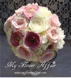Wedding flowers and custom linens by My Flower Affair. www.myfloweraffai... wedding flowers, wedding decor, wedding flower centerpiece, wedding flower arrangement, bouquet... pink romantic lace