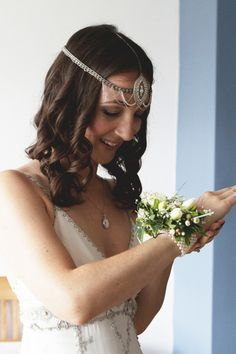 Happiness by Jenny Packham And a Beautiful Wrist Corsage for a DIY and Handmade Campsite Wedding