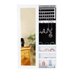 Songmics 120cm Armoire murale à bijoux avec miroir et porte coulissante Blanc JBC25W