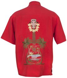 Bamboo Cay - Paradise Tunes - Tropical Embroidered Shirt - Tomato