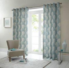 Woodland Ready Made Eyelet Curtains in Duck Egg - Terrys Fabrics UK