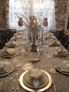Christmas Tablescape. Obsessed with the silver!!!