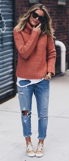 Bright Sweater and Ripped Boyfriend Jeans