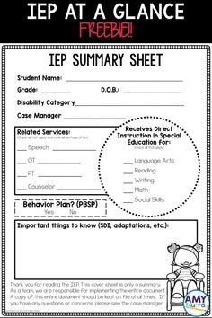 IEP Summary Sheet (snapshot) FREEBIE - give classroom teachers an IEP at a glance or cheat sheet to be sure they are familiar with the most important parts of a special education (ESE) student's IEP.  This free form allows you to make note of things like speech times, time in the resource room and more.