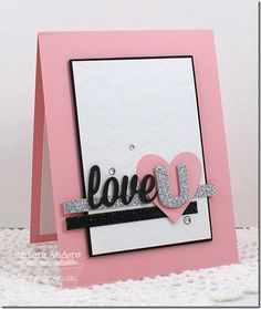 handmade Valentine card: There's a New Challenge in Town–Introducing MFT Color Palette Challenge!! ... pink and white with black and silver glitter accents ... like the montage of die cut heart and word ... fresh look ... My Favorite Things ...