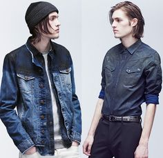 Diesel 2014 Spring Summer Mens Preview Lookbook Collection - Vintage Denim Jeans Collarless Jacket Ombre Fade Coated Waxed Blazer One Piece ...