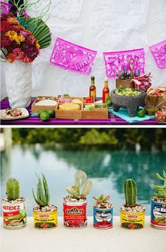 Buy baby cacti and put them inside used cans of Mexican tomatoes and beans! Mexican Fiesta Party, Fiesta Theme Party, Taco Party, Snacks Für Party, Fiesta Party Decorations, Theme Parties, Streetfood Festival, Mexican Babies, Mexican Birthday