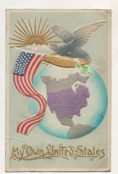 My Own United States, Patriotic Eagle and Flag, Silk Vintage Postcard • EUR 5,41 • PicClick IE