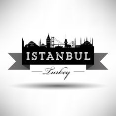Ribbon Banner with Istanbul Silhouette vector art illustration