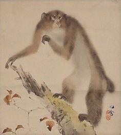 Japanese Scroll: Monkey by Hashimoto Kansetsu