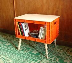 Making a coffee table for the camper from milk crates and plywood
