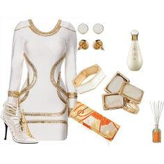 GOLD AND WHITE WITH A SPLASH OF ORANGE by evelyn-wade on Polyvore featuring polyvore, fashion, style, Fergie, Liucia Japan, Topshop, BaubleBar, American Apparel, Christian Dior and Antica Farmacista