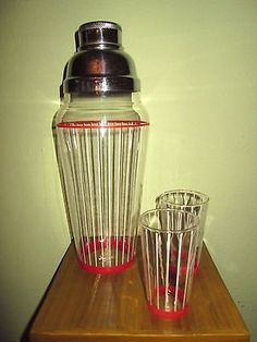 VTG Glass Cocktail Martini Shaker and 2 Glasses White Striped Red Accents