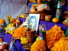 Mexican Dia de los Muertos, or Day of the Dead, altar.
