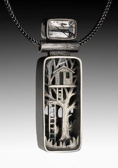 Natureinspired sterling silver shadowbox pendant by Suzanne Williams. | via suzannewilliamsjewelery.com