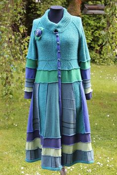 peacock upcycled sweater coat by Kaceyscreations2 on Etsy, £150.00