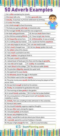 Adverb Examples Sentences) - New Sites English Grammar Rules, Teaching English Grammar, English Grammar Worksheets, English Writing Skills, English Sentences, English Verbs, English Vocabulary Words, Learn English Words, English Phrases
