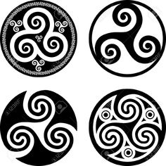 Black isolated celtic triskels set in rounds, vector elements for your design - buy this vector on Shutterstock & find other images. Celtic Tattoos, Viking Tattoos, Tribal Tattoos, Tatoos, Celtic Spiral, Celtic Art, Vikings Art, Tattoo Sketches, City Of Bones